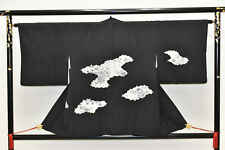 Vintage Japanese Ladies' Black/Ivory Kimono Haori Eve Jacket 'Floral Clouds' S/M