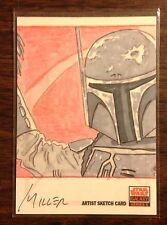 Boba Fett Topps Star Wars Galaxy 5 color sketch card 1/1 Miller