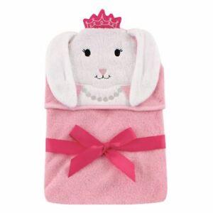 Hudson Baby Animal Face Hooded Towel, Princess Bunny