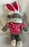 "Dan Dee 12"" Sock Monkey Plush Doll With Polka Dot Shirt & Bunny Ears"