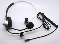 Call Center Telephone Headset w/ Adjustable Boom Mic 4-pin RJ9 silver