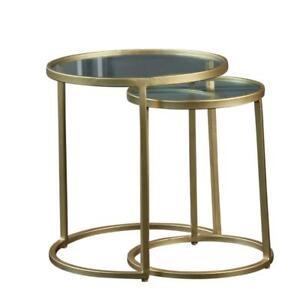 Nest of Tables Gold Iron Glass 45 x 40 x 40 cm & 41 x 43 x 43cm Vintage Art Deco