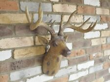 Stag Head Wall Hanging Decoration Deer Head Wood Effect Resin Wall Mounted Gift