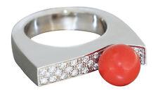 Designerring Wei��gold 750 mit Brillanten und Koralle Brillantring - Korallenring