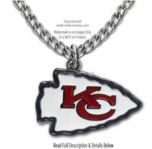 LARGE KANSAS CITY CHIEFS STAINLESS STEEL CHAIN NECKLACE NFL FOOTBALL  FREE SHIP'