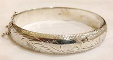 """GORGEOUS  STERLING SILVER ENGRAVED HINGED BANGLE BRACELET  1/2"""" WIDE"""