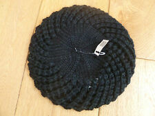 MONSOON ACCESSORIZE TEXTURED BLACK RIB CROCHET KNITTED BERET ONE SIZE 57CM