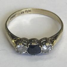 Vintage Solid 9ct Gold Hallmarked Sapphire & Cubic Zirconia CZ Ring Size O1/2