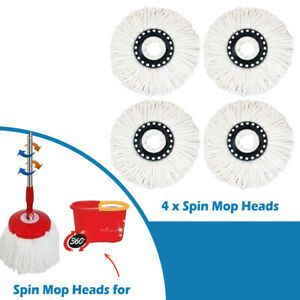 4 x Replacement Spin Mop Heads Microfober for 360° Rotating Spin Mop Extra Mop