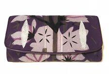 Genuine Stingray Wallet Skin Leather Women Trifold Purple Clutch Long Wallet