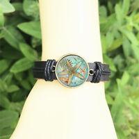 Starfish Nautical men's Bangle 20 mm Glass Cabochon Leather  Charm Bracelet