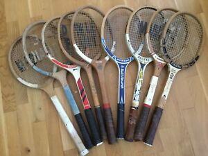 NINE WOODEN TENNIS RACKETS Racquets Vintage