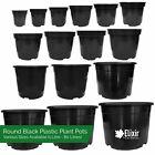 Black Plastic Plant Pot Flower Pots 1 2 3 4 5 7.5 10 12 15 20 32 45 60 80 Litre