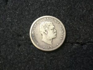 1883 HAWAII Kingdom 1/4 Dollar Silver San Francisco Mint Mid Grade Coin ~NR ~477