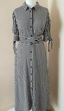 Mango Multi Stripe Tie Waist Detail Shirt Dress Short Sleeve Size M UK 10