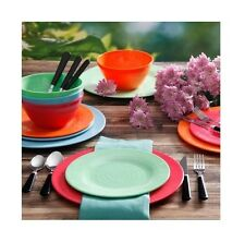Gibson Home Brela 12-Piece Melamine Dinnerware Set Delicious Meal With Friends