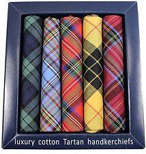 Pack of 5 Soprano Tartan cotton handkerchiefs in a presentation box - five diffe