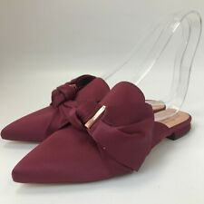 New Ted Baker Tulous Satin Flat Loafer UK 6 Deep Red Bow Pointed Slider 311377