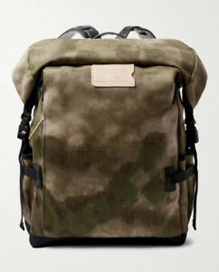 NWT $425 Blue De Chauffe Camouflage Cotton-Canvas Backpack | Brown/Green