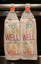 2 new Hanging Kitchen Towels with Crocheted top / EW