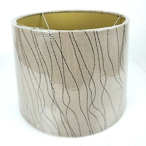 Target Home Mid Century Style Fabric Tapered Drum Lampshade Brown Embroidered