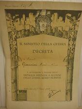 """Antique Il Ministro Della Guerra Decreta, Roma Italy 1921, 19 1/2"""" X 13 1/2"""""""