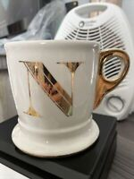 Anthropologie Monogram Mug N Initial Ivory Gold Coffee Cup Shaving