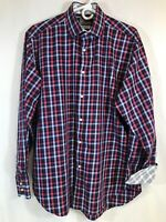 Thomas Dean Mens Long Sleeve Button Front Blue Red Plaid Shirt Sz L Cotton