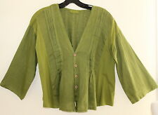CP Shades - Sz XS - Art-to-Wear Linen Green Pleated Funky 3/4 Top Jacket Topper