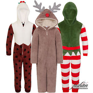 Christmas 1Onesie Girls Boys Novelty Fleece Santa Fancy Dress Costume Nativity