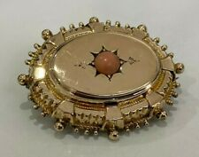 Victorian 10ct solid gold & Coral mourning Brooch 6.0g
