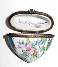Vintage Limoges Heart Shaped Trinket Box Hand Decorated & Signed