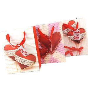 6 x Geschenktüten XXL SET 23x18x9 cm Tüten Beutel Herzen Liebe Valentin 31840