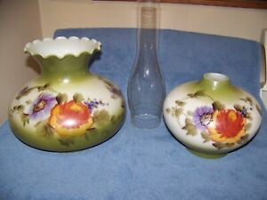 Hurricane Lamp Globes & Chimney (Hand Painted Green with Flowers) NICE Condition