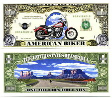 BILLET de COLLECTION BIKER - MILLION DOLLAR ! Avec Moto Harley Davidson Motard