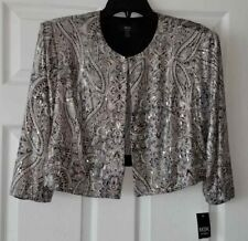 NWT MSK Womens Sequined Shimmer Clasp Front Cardigan Jacket Size 14 W