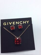 $48 GIVENCHY RED STONE NECKLACE & STUD EARRINGS G1