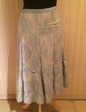 Nicole Farhi blue silk full skirt with ribbon embroidery (size 2 US) NWOT-$450