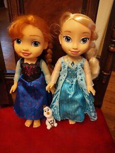 "Disney Frozen Princesses,  Elsa, Anna 13""  Dolls with Olaf the snowman"