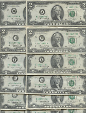 New listing Complete Fed District Set 1976 Two Dollar Bill A-L 2.00 Set All 12