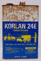 Vtg 1960s FARM KORLAN COW PIG CATTLE GRAPHIC OIL GAS Gallon Can Midland Michigan