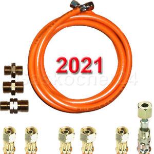 """PropanGasschlauch 2021 Standard 2 X 1/4"""" od. 3/8"""" links od. 1/4"""" X 8mm bis 500cm"""