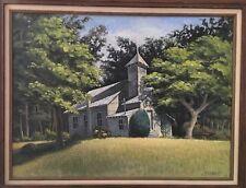 Mt. DORA Fl, ZION BAPTIST Church Oil On Board Signed BRYAN Fantastic Southern