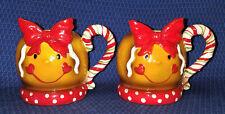 2 Gingerbread Girl Head Mugs Candy Cane handle Bow Man by Garden Ridge