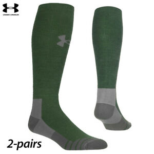 UA Socks: 2-PAIR Hitch Heavy 3.0 Boot (L) Combat Green