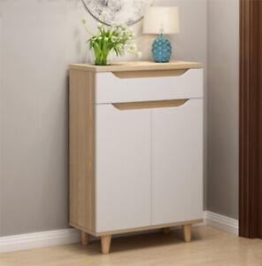 5 Tier Shoe Storage Cabinet 2 Door Cupboard Drawer Stand Rack White Hallway New