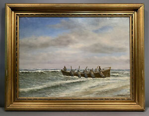 1916 Antique LIFE SAVING SERVICE Old WOOD SHIP Boat SEASCAPE LSS USLSS PAINTING