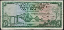 1964 NATIONAL COMMERCIAL BANK OF SCOTLAND LIMITED £1 BANKNOTE * IS 160838 * gF *