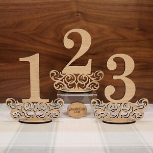 Wooden Freestanding Wedding Table Numbers Oak Wedding Decor Laser Cut Rustic