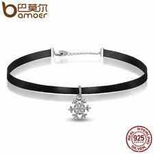 Bamoer Black Classic Choker Necklace with S925 snowflake Charm Pendant Jewelry